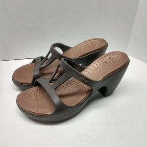 Crocs Wedge Sandals Women's 10 Brown Tan